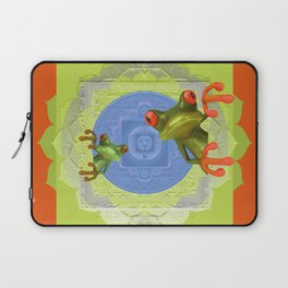 Vintage Tree Frog Mandala Color Study Laptop Sleeve