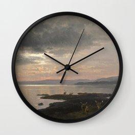 Hermann Ottomar Herzog - Twighlight over a Lake Wall Clock