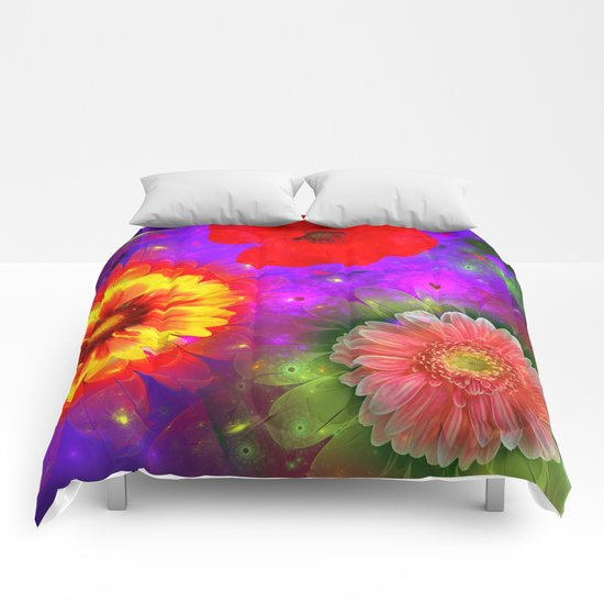 Summer flowers in a colourful fantasy garden Comforters