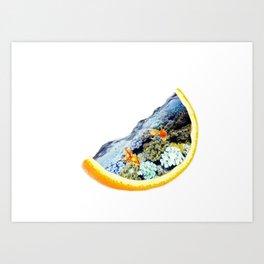 Orange Sea Tank Art Print