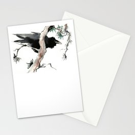 Raven, Japanese Ink Art, Traditional Asian Watercolor Stationery Cards