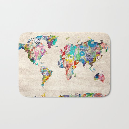world map music art Bath Mat