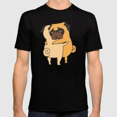 Pug Hugs MEDIUM Black Mens Fitted Tee