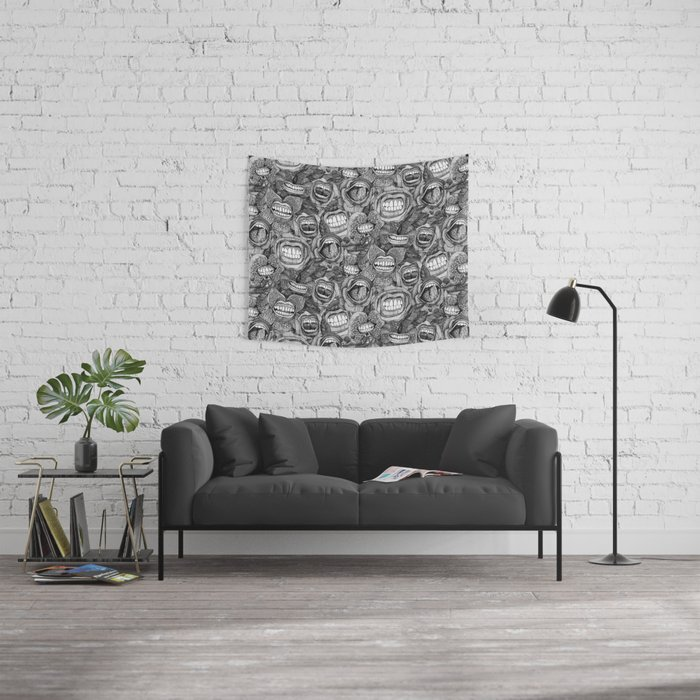 BITE ME roses and orchids BLACK WHITE Wall Tapestry