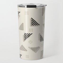 Geometrical black ivory brushstrokes stripes polka dots triangles Travel Mug