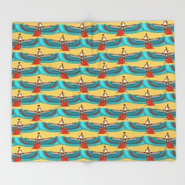 Isis and Nephtys - Turquoise and yellow Throw Blanket