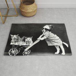 Puppy with a kitten cart Rug