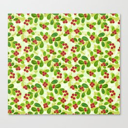 Cranberry Fruit Pattern on Green Canvas Print