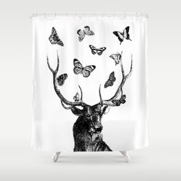 The Stag and Butterflies | Deer and Butterflies | Vintage Stag | Vintage Deer | Black and White | Shower Curtain