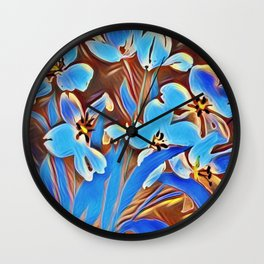 Painted Forget Me Nots Wall Clock