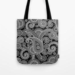 Boho Black & White Paisley Pattern Tote Bag