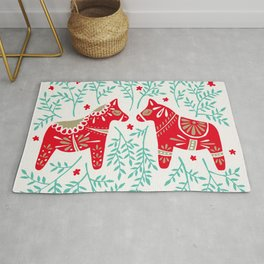 Swedish Dala Horses – Red & Mint Palette Rug