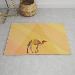 Geometric watercolor camel Rug