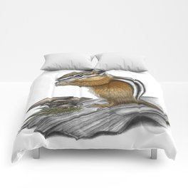 Chipmunk and mushrooms Comforters