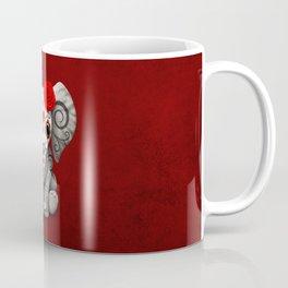 Deep Red Day of the Dead Sugar Skull Baby Elephant Coffee Mug