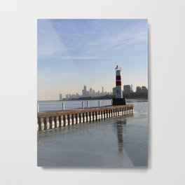 Montrose Harbor in the Winter Metal Print