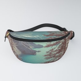 Vintage Blue Crater Lake and Trees - Nature Photography Fanny Pack
