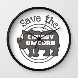 Save The Chubby Unicorn Gift Rhino Lover Gift Wall Clock