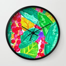 Illustrated Sea Grapes + Tropical Leaves Wall Clock