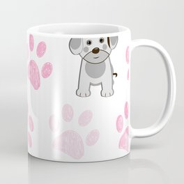 Cute dog and doodle paw prints pink paws pattern Coffee Mug
