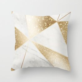 Elegant Marble and Gold Abstract Design Throw Pillow