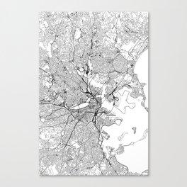 Boston White Map Canvas Print