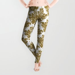 Faux White and Gold Glitter Small Damask Leggings