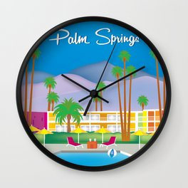 Palm Springs, California - Skyline Illustration by Loose Petals Wall Clock