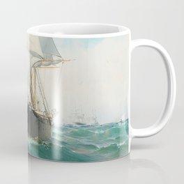 Vintage Swedish Sailboat Painting (1887) Coffee Mug