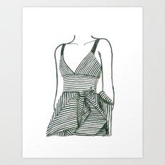 Striped Dress | Print from original watercolor painting Art Print