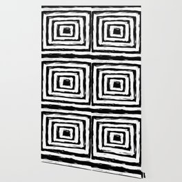 Minimal Black and White Square Rectangle Pattern Wallpaper