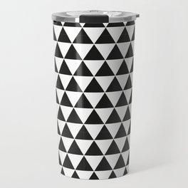 Black And White Triangles Pattern Travel Mug
