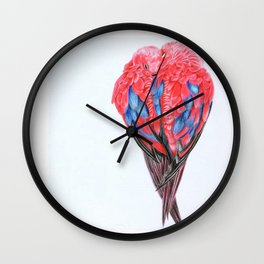Red Lories Wall Clock