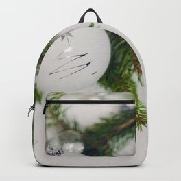 Minimal White Christmas Ornament and Evergreen (Color) Backpack
