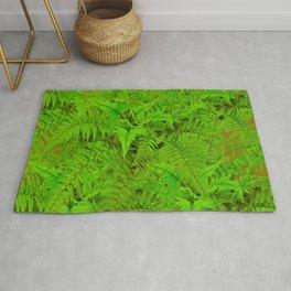 ABSTRACTED  GREEN  TROPICAL FERNS GARDEN ART Rug