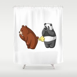 Hey Bear Grizzly Fart At Panda Shower Curtain