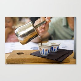 Pouring Turkish coffee Canvas Print