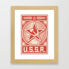 star, crossed hammer and sickle - ussr poster (socialism propaganda) Framed Art Print
