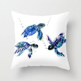 Three Sea Turtles, Marine Blue Aquatic design Throw Pillow