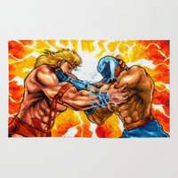 muscle Area & Throw Rugs featuring Muscle Bomber by VGPrints