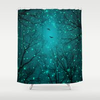 fault Shower Curtains featuring One by One, the Infinite Stars Blossomed by soaring anchor designs