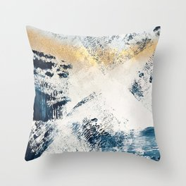 Sunset [1]: a bright, colorful abstract piece in blue, gold, and white by Alyssa Hamilton Art Throw Pillow
