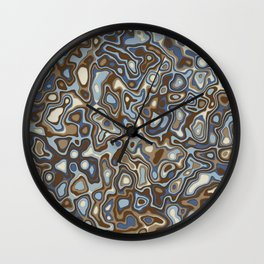 Paper Cut Craters - Slate, Denim Blue, Brown, Ivory Wall Clock