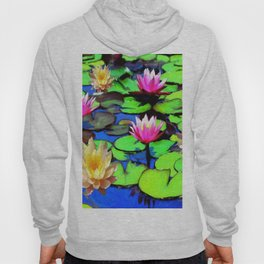 PINK & YELLOW WATER LILIES POND Hoody