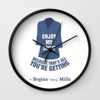 regina mills Wall Clocks featuring Regina Sassy Mills | Enjoy my shirt by CLM Design