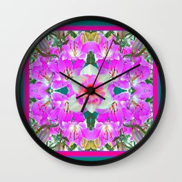 TEAL PINK SPRING LILY FLOWERS PURPLE GARDEN PATTERNS Wall Clock