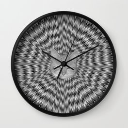 Dizzy Cat Abstract in Monochrome Wall Clock