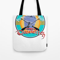 quidditch Tote Bags featuring AZKABAN QUIDDITCH TEAM by karmadesigner