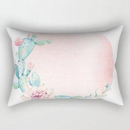 Desert Rose Gold Cactus Sun Rectangular Pillow