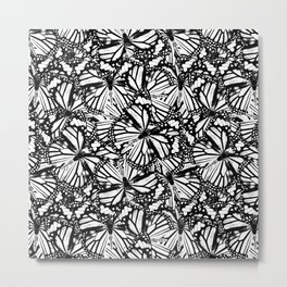 Monarch Butterflies Pattern | Butterfly Pattern | Black and White | Metal Print